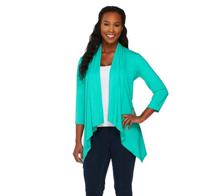 """As Is"" Susan Graver Weekend Cotton Modal Cardigan with Hi-Low Hem"