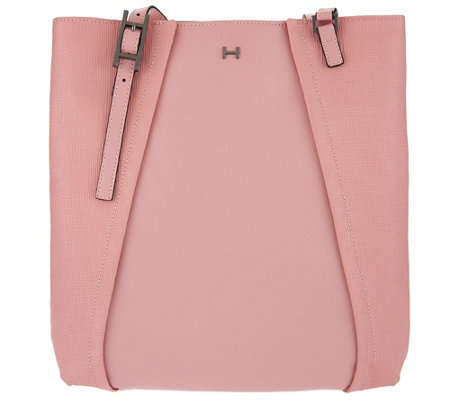 H by Halston Saffiano & Smooth Leather Shoulder Tote Bag