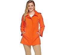 Dennis Basso Water Resistant A-Line Jacket with Circle Print Lining - A274265