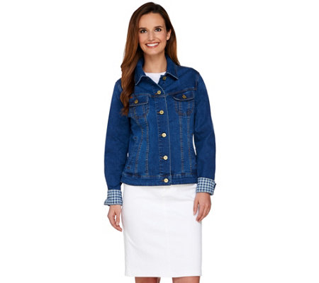 Isaac Mizrahi Live! TRUE DENIM Jean Jacket w/ Gingham Trim