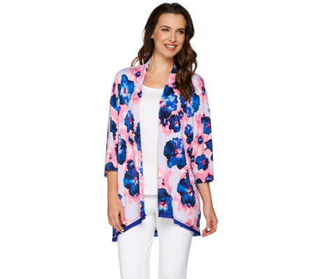 LOGO by Lori Goldstein Printed Knit Cardigan with Satin Trim