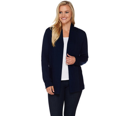Susan Graver Rayon Nylon Open Front Long Sleeve Cardigan