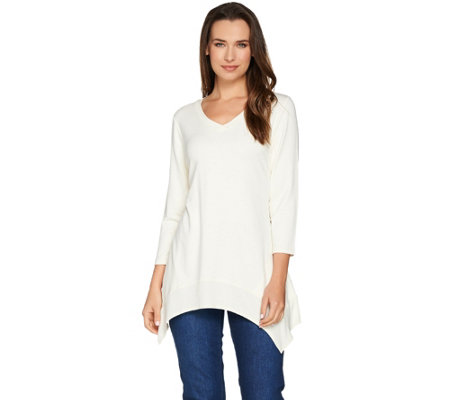 LOGO Lounge by Lori Goldstein French Terry Knit Top with Ribbed Trim