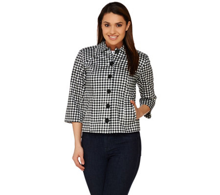 Joan Rivers 3/4 Sleeve Gingham Jacket