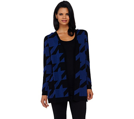 """As Is"" Susan Graver Cotton Acrylic Jacquard Cardigan"