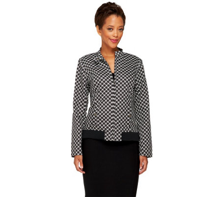 """As Is"" Isaac Mizrahi Live! Houndstooth Printed Bomber Jacket"