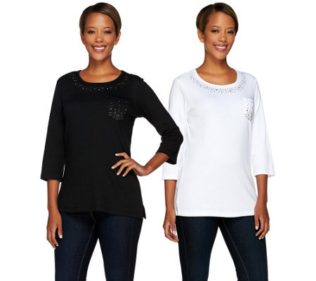 """As Is"" Quacker Factory Set of 2 Be Jeweled 3/4 Sleeve T-Shirts"