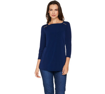 Susan Graver Liquid Knit Square Neck 3/4 Sleeve Top with Trim - A278865