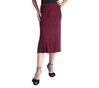 """As Is"" George Simonton Printed Milky Knit Gored Skirt - A279165"