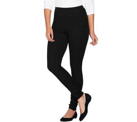 Women with Control Petite Knit Leggings w/ Faux Leather Ankle Snaps