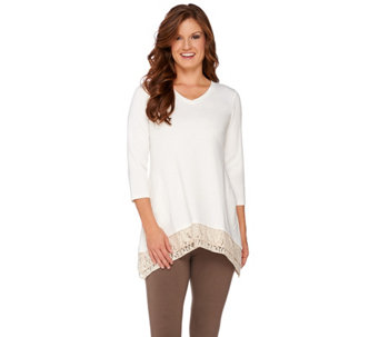 """As Is"" LOGO Lounge by Lori Goldstein French Terry Top w Lace Trim - A279665"
