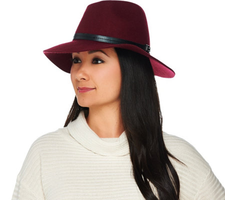 H by Halston Wool Fedora with Faux Leather Trim