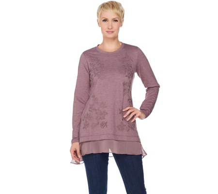 LOGO Lounge by Lori Goldstein French Terry Top with Embroidery