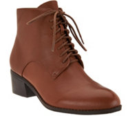 Isaac Mizrahi Live! Leather Lace Up Ankle Boots