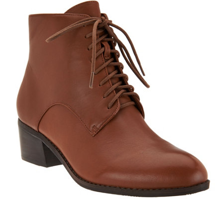 Isaac Mizrahi Live! Leather Lace Up Ankle Boots - Page 1 — QVC.com