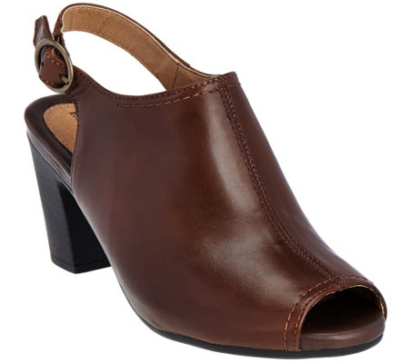 Earth Origins Peep-toe Slingback Leather Booties - Sydney
