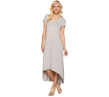 """As Is"" H by Halston Petite Hi-Low Hem Knit Maxi Dress"