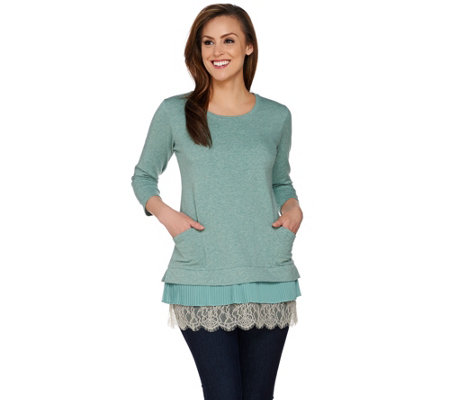 """As Is"" LOGO Lounge by Lori Goldstein Top with Chiffon & Lace Trim"