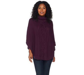 C. Wonder Cowl Neck Cable Knit Sweater Poncho - A284765
