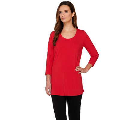 """As Is"" Susan Graver Dolce Knit 3/4 Sleeve Tunic"