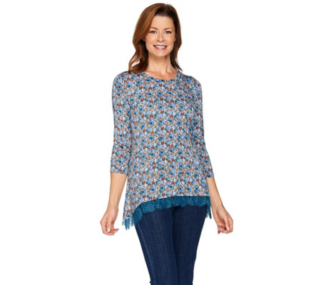 LOGO Layers by Lori Goldstein Printed Knit Top with Lace Hi-Low Hem