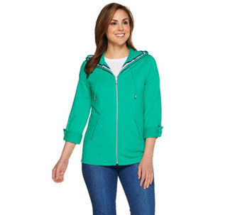 """As Is"" Susan Graver Weekend French Terry Zip Front Hooded Jacket - A286765"