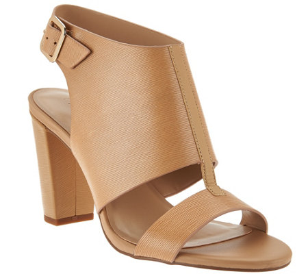 """As Is"" H by Halston Leather Block Heel Sandals - Catrina"
