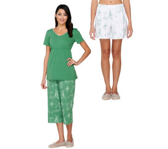 """As Is"" SleepIn by BedHead PJs Rooster Toile 3 Piece Set Pajama Set - A288265"