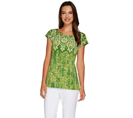 """As Is"" Bob Mackie's Boat Neck Short Sleeve Printed Top"