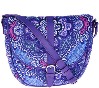"""As Is"" Vera Bradley Signature Print Slim Saddle Bag - A291065"