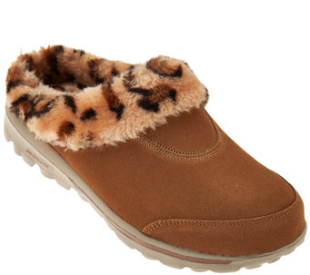 """As Is"" Skechers GOWalk Suede Faux Fur Animal Print Clogs - A291865"