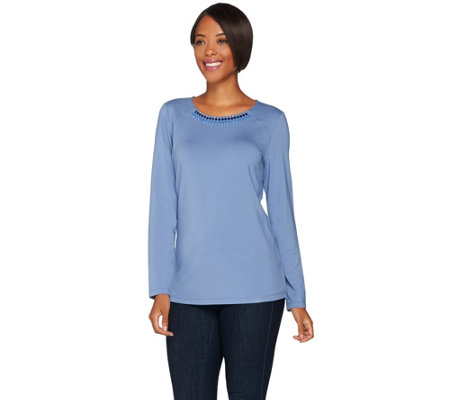 """As Is"" Susan Graver Artisan Cotton Modal Embellished Long Sleeve Top"