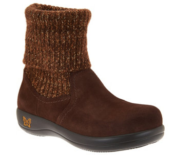 """As Is"" Alegria Suede and Knit Foldover Boots - Juneau - A293165"