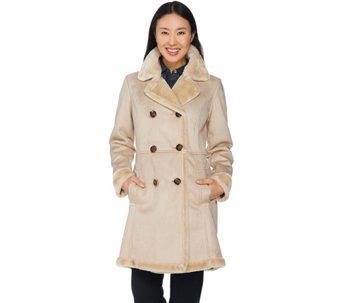 """As Is"" C. Wonder Faux Shearling Double Breasted Coat - A294365"