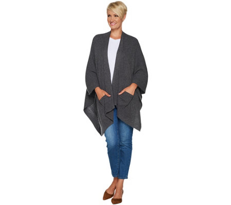 Isaac Mizrahi Live! 2-Ply Cashmere Ribbed Ruana with Pockets