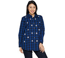 Quacker Factory Button Front Plaid Tunic with Embellishment - A296565