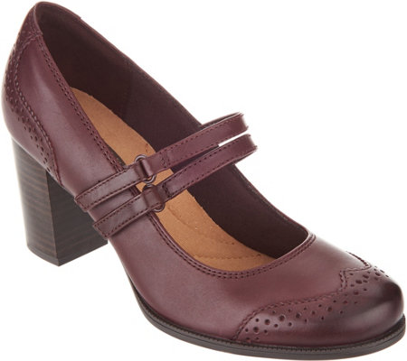 Clarks Leather Stacked Heel Mary Janes - Claeson Tilly