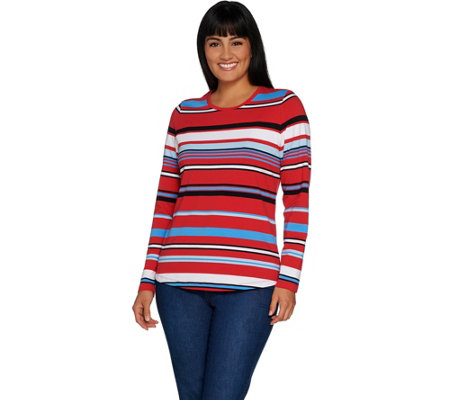 Denim & Co. Active Striped Knit Top with Curved Hemline