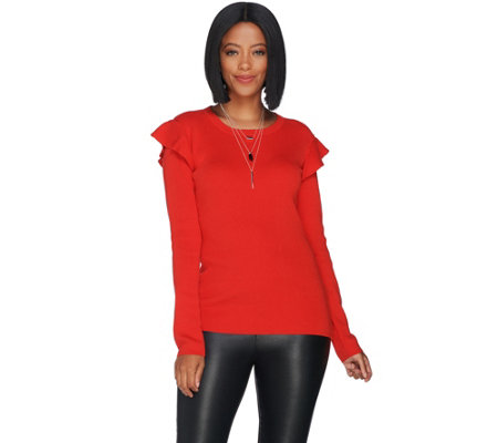 Du Jour Rib Knit Sweater with Ruffle Shoulder Detail