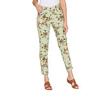 Studio by Denim & Co. Floral Print Stretch Twill Ankle Pants - A304665