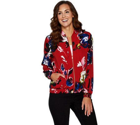 """As Is"" Susan Graver Printed Stretch Woven Bomber Jacket"