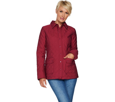 """As Is"" Joan Rivers Quilted Barn Jacket with Pocket Detail"