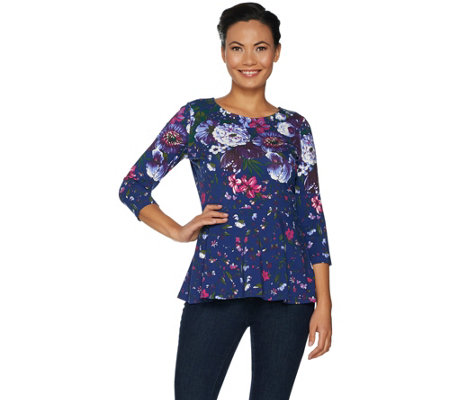 """As Is"" Isaac Mizrahi Live! Engineered Floral Knit Peplum Top"