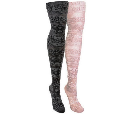 MUK LUKS Women's 2-Pair Pack Patterned Microfiber Tights