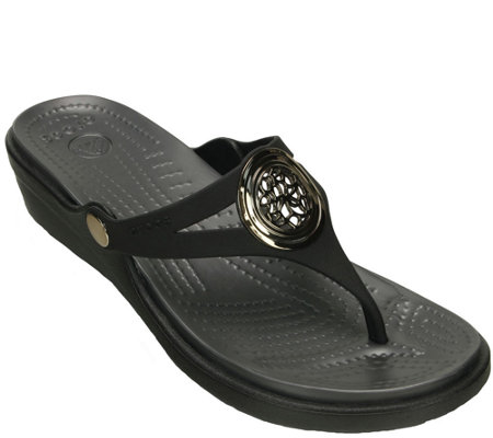 Crocs Croslite Slip-On Sandals - Sanrah CircleWedge Flip