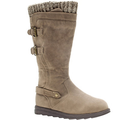 MUK LUKS Nora Faux-Suede Boots with Knit Cuff &Buckles
