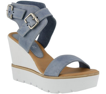 Azura by Spring Step Leather Wedge Sandals -  Leticia - A339965