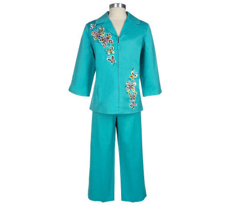 Bob Mackie's Embroidered Stretch Pique Jacket and Crop Pants