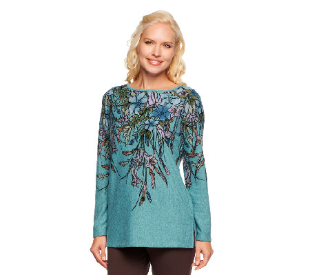 George Simonton Floral Print Heather Knit Top