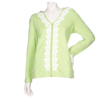 Sport Savvy Zip Front Hooded Jacket with Lace Trim